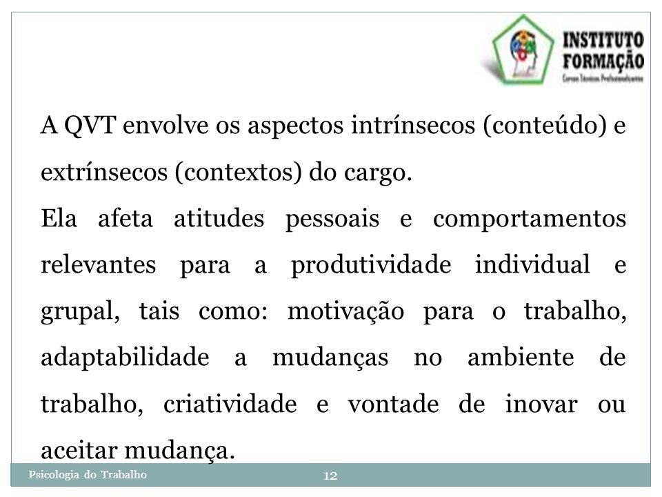 A QVT envolve os aspectos intrínsecos (conteúdo) e extrínsecos (contextos) do cargo.
