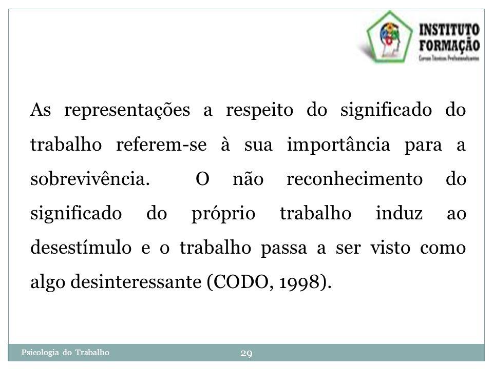 As representações a respeito do significado do trabalho referem-se à sua importância para a sobrevivência. O não reconhecimento do significado do próprio trabalho induz ao desestímulo e o trabalho passa a ser visto como algo desinteressante (CODO, 1998).