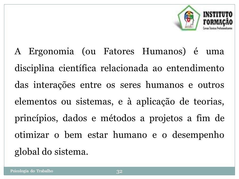 A Ergonomia (ou Fatores Humanos) é uma disciplina científica relacionada ao entendimento das interações entre os seres humanos e outros elementos ou sistemas, e à aplicação de teorias, princípios, dados e métodos a projetos a fim de otimizar o bem estar humano e o desempenho global do sistema.