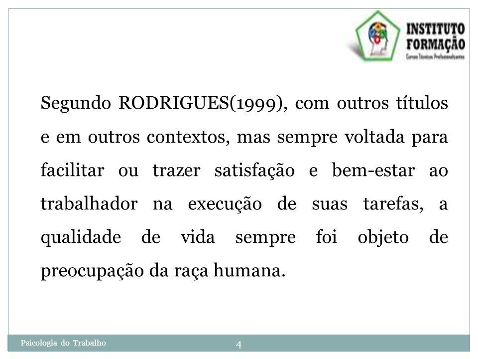 Segundo RODRIGUES(1999), com outros títulos e em outros contextos, mas sempre voltada para facilitar ou trazer satisfação e bem-estar ao trabalhador na execução de suas tarefas, a qualidade de vida sempre foi objeto de preocupação da raça humana.