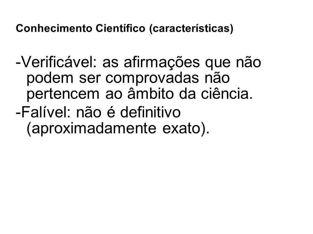 Conhecimento Científico (características)