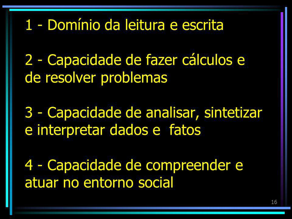 1 - Domínio da leitura e escrita 2 - Capacidade de fazer cálculos e de resolver problemas 3 - Capacidade de analisar, sintetizar e interpretar dados e fatos 4 - Capacidade de compreender e atuar no entorno social