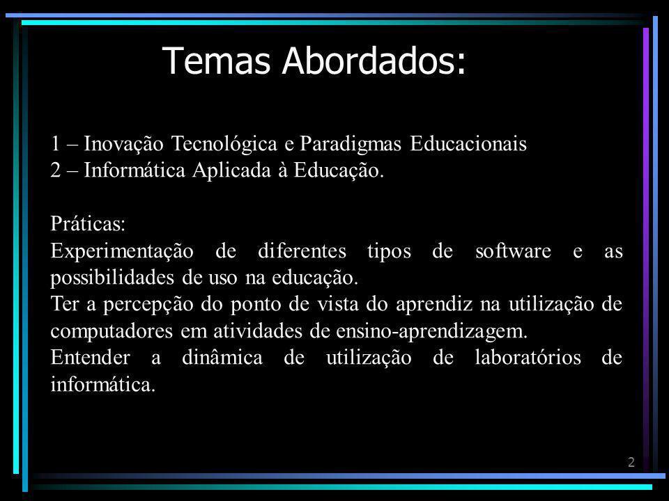 Temas Abordados: 1 – Inovação Tecnológica e Paradigmas Educacionais