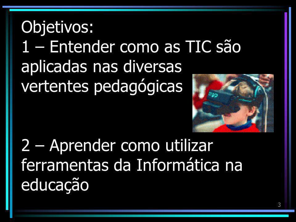 Objetivos: 1 – Entender como as TIC são aplicadas nas diversas vertentes pedagógicas 2 – Aprender como utilizar ferramentas da Informática na educação