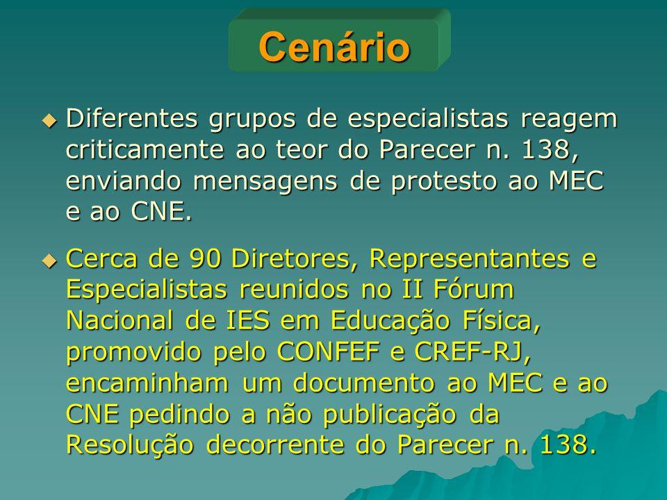 Cenário Diferentes grupos de especialistas reagem criticamente ao teor do Parecer n. 138, enviando mensagens de protesto ao MEC e ao CNE.