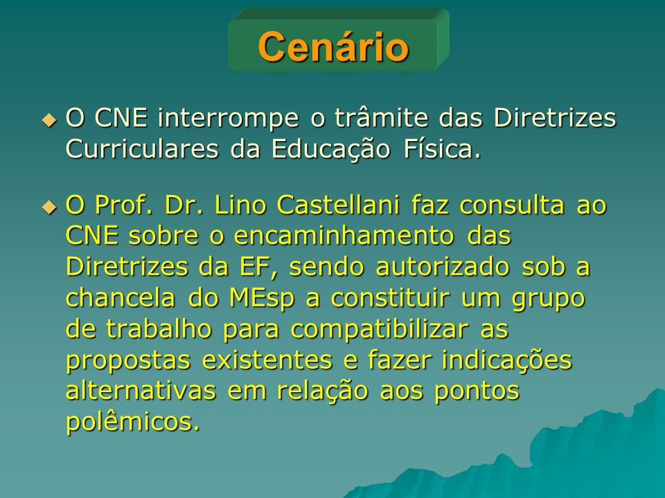Cenário O CNE interrompe o trâmite das Diretrizes Curriculares da Educação Física.