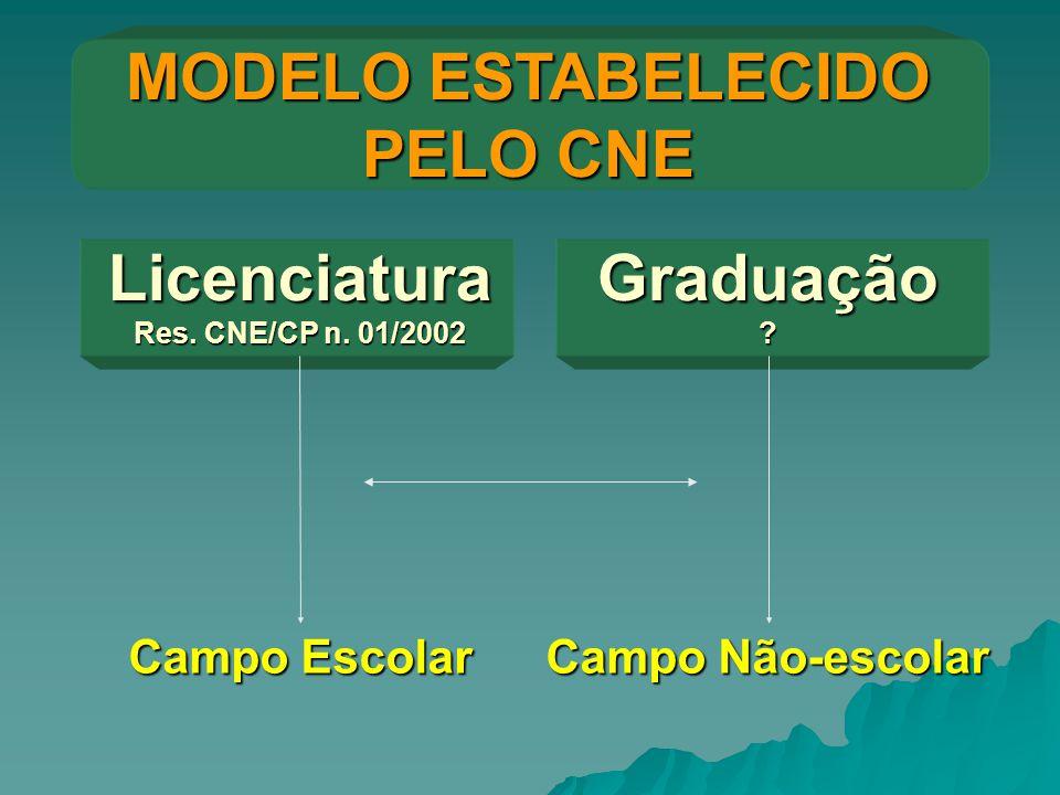 MODELO ESTABELECIDO PELO CNE Licenciatura Res. CNE/CP n. 01/2002