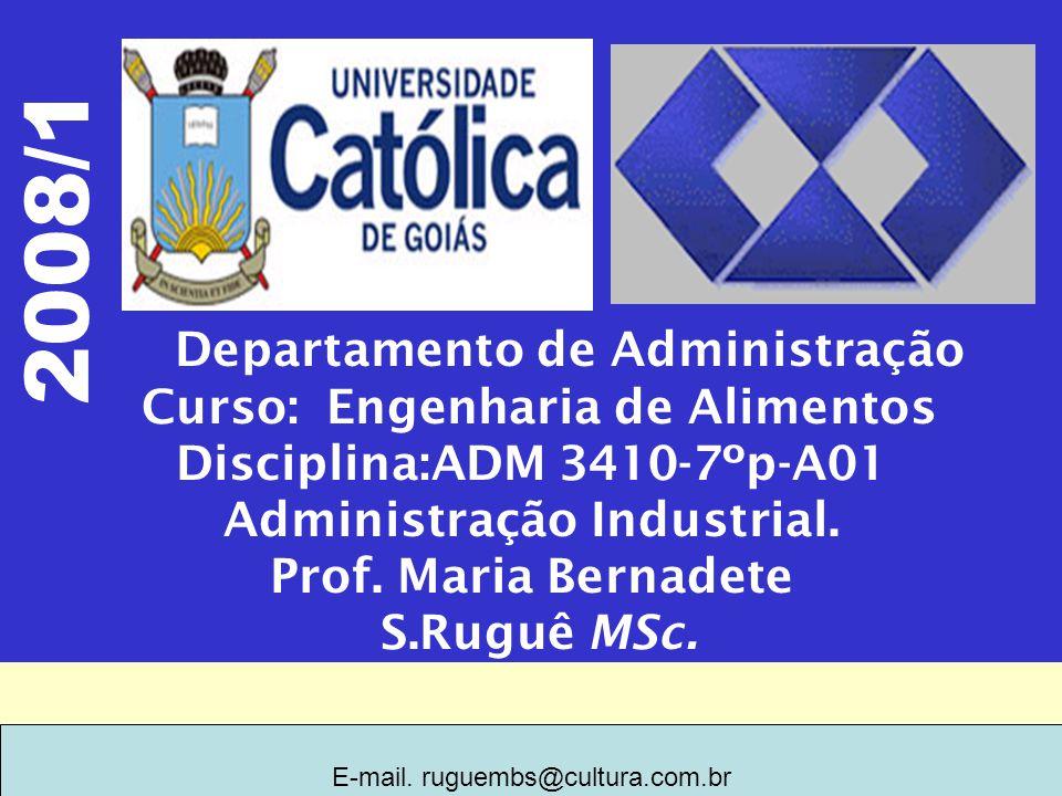 2008/1 Departamento de Administração Curso: Engenharia de Alimentos