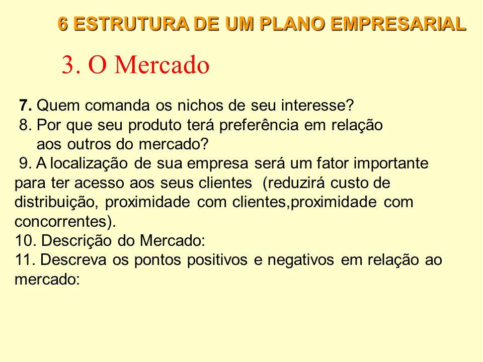 3. O Mercado 6 ESTRUTURA DE UM PLANO EMPRESARIAL