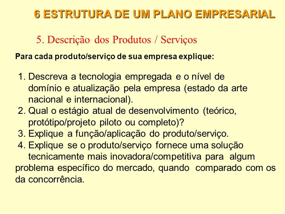 5. Descrição dos Produtos / Serviços