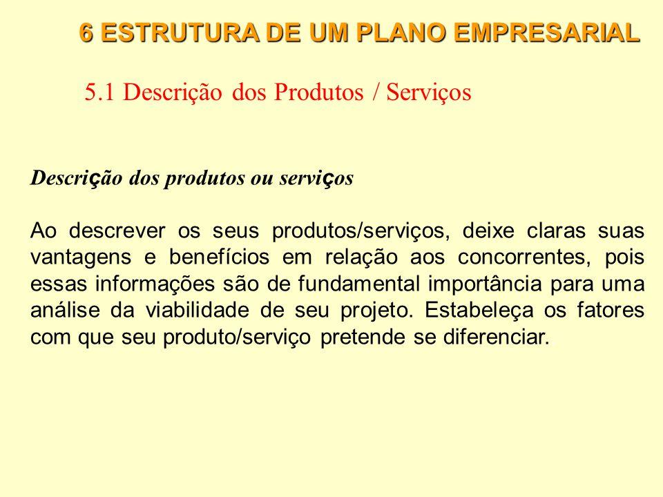 5.1 Descrição dos Produtos / Serviços