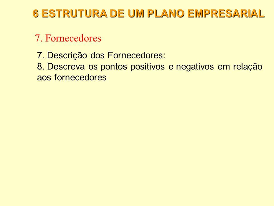 7. Fornecedores 6 ESTRUTURA DE UM PLANO EMPRESARIAL
