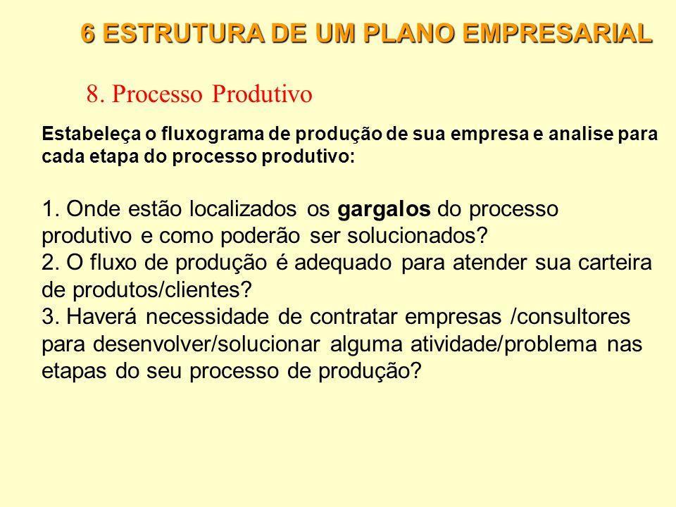 8. Processo Produtivo 6 ESTRUTURA DE UM PLANO EMPRESARIAL