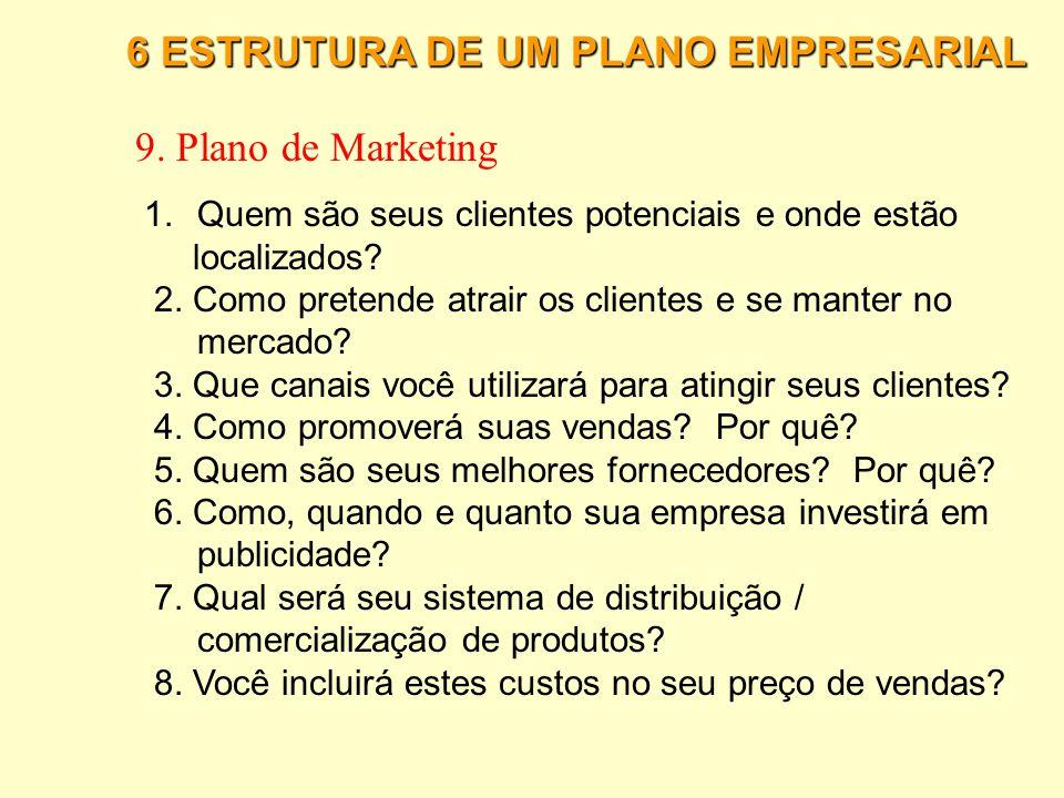 9. Plano de Marketing 6 ESTRUTURA DE UM PLANO EMPRESARIAL