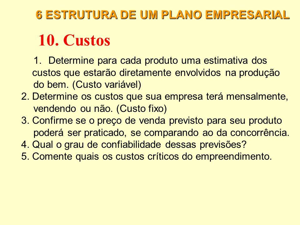 10. Custos 6 ESTRUTURA DE UM PLANO EMPRESARIAL