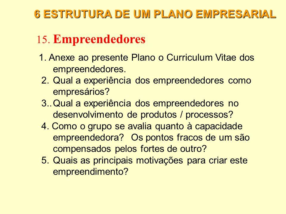 15. Empreendedores 6 ESTRUTURA DE UM PLANO EMPRESARIAL