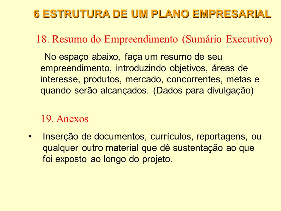 18. Resumo do Empreendimento (Sumário Executivo)
