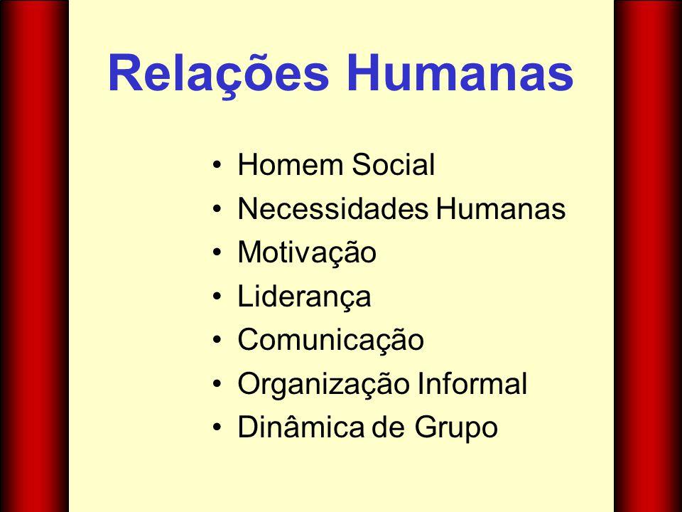 Relações Humanas Homem Social Necessidades Humanas Motivação Liderança