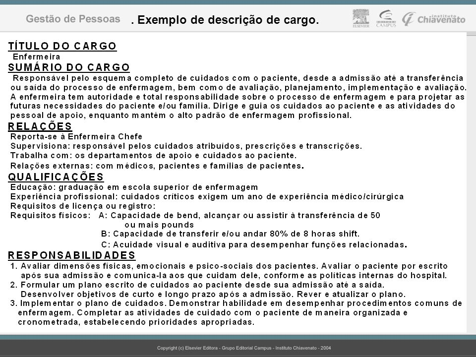 . Exemplo de descrição de cargo.
