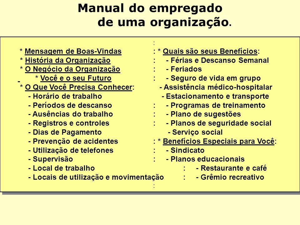 Manual do empregado de uma organização.