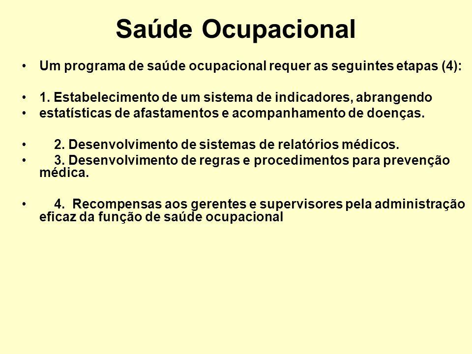 Saúde Ocupacional Um programa de saúde ocupacional requer as seguintes etapas (4): 1. Estabelecimento de um sistema de indicadores, abrangendo.