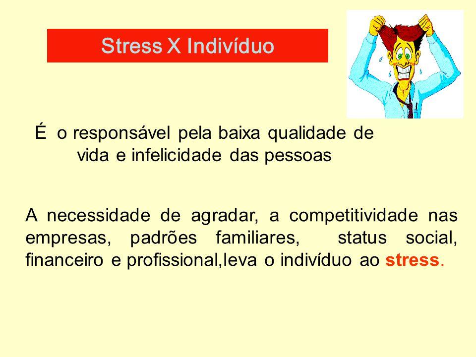 Stress X Indivíduo É o responsável pela baixa qualidade de vida e infelicidade das pessoas.