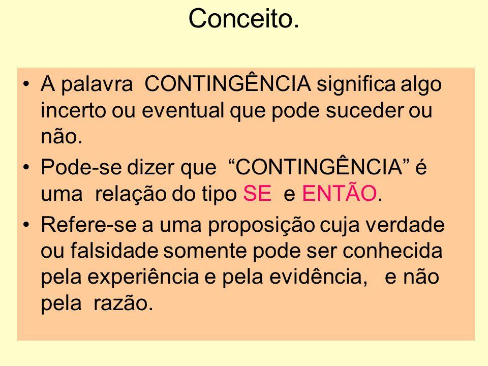 Conceito. A palavra CONTINGÊNCIA significa algo incerto ou eventual que pode suceder ou não.