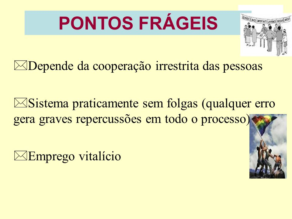 PONTOS FRÁGEIS Depende da cooperação irrestrita das pessoas