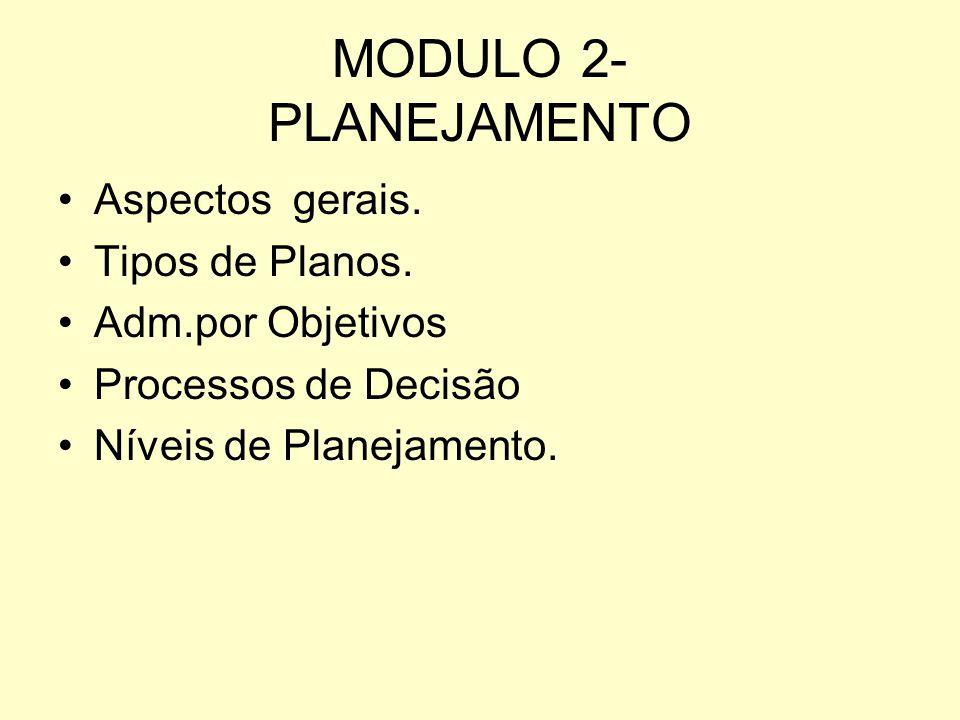 MODULO 2- PLANEJAMENTO Aspectos gerais. Tipos de Planos.