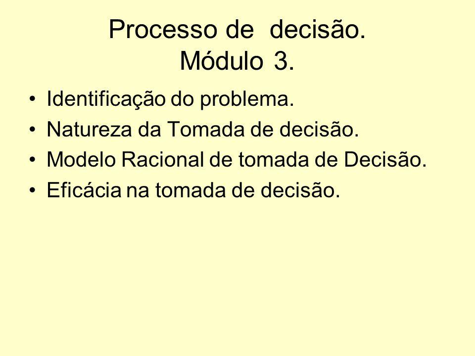 Processo de decisão. Módulo 3.
