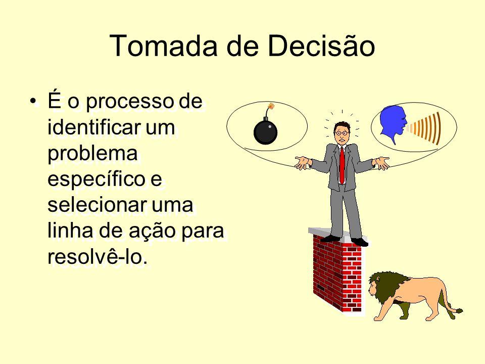 Tomada de Decisão É o processo de identificar um problema específico e selecionar uma linha de ação para resolvê-lo.