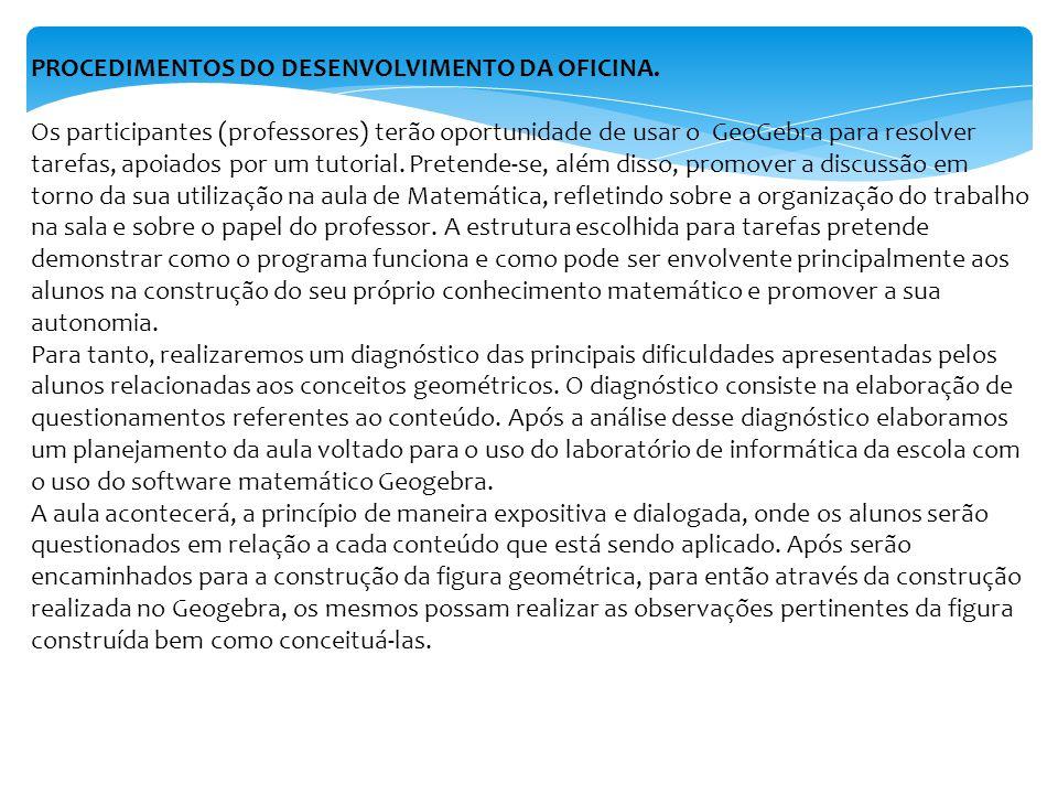 PROCEDIMENTOS DO DESENVOLVIMENTO DA OFICINA.