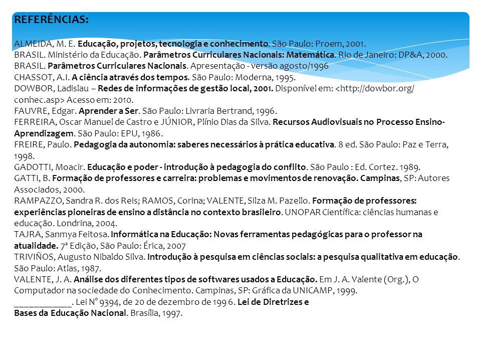 REFERÊNCIAS: ALMEIDA, M. E. Educação, projetos, tecnologia e conhecimento. São Paulo: Proem, 2001.