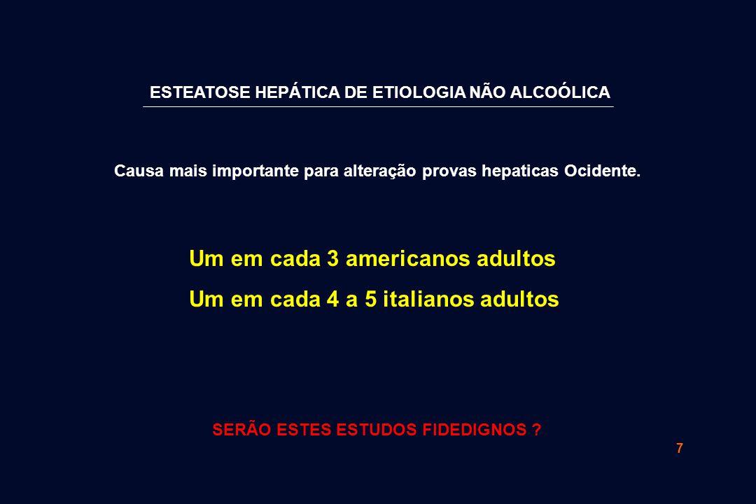 Um em cada 3 americanos adultos Um em cada 4 a 5 italianos adultos