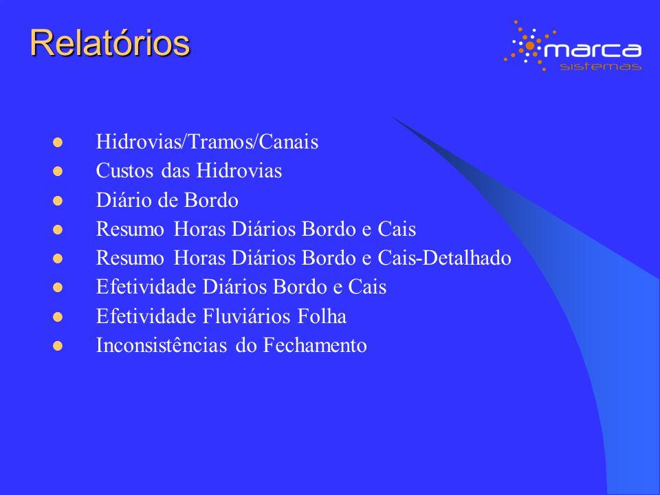 Relatórios Hidrovias/Tramos/Canais Custos das Hidrovias