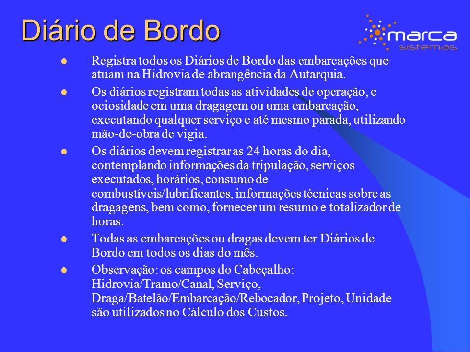 Diário de Bordo Registra todos os Diários de Bordo das embarcações que atuam na Hidrovia de abrangência da Autarquia.