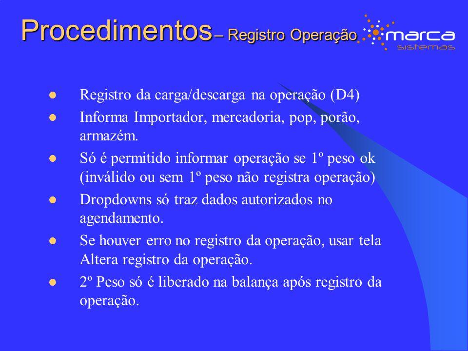 Procedimentos – Registro Operação