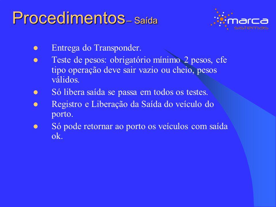 Procedimentos – Saída Entrega do Transponder.