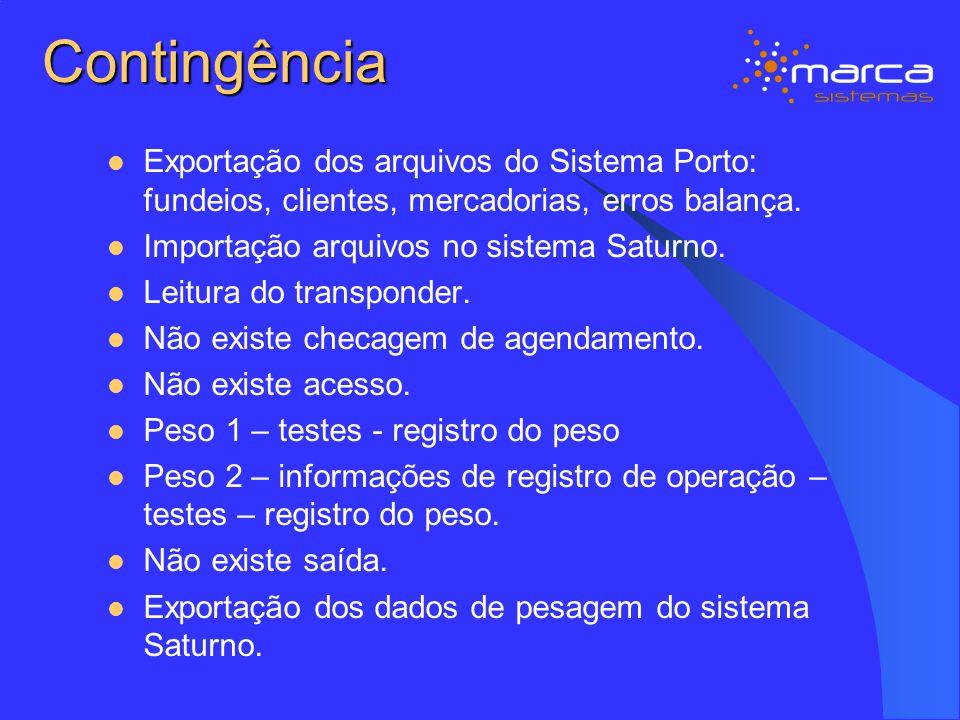 Contingência Exportação dos arquivos do Sistema Porto: fundeios, clientes, mercadorias, erros balança.