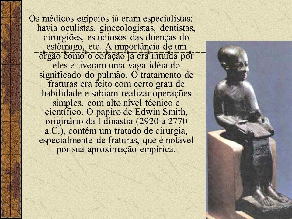 Os médicos egípcios já eram especialistas: havia oculistas, ginecologistas, dentistas, cirurgiões, estudiosos das doenças do estômago, etc.
