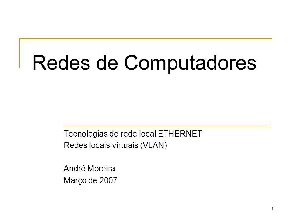 Redes de Computadores Tecnologias de rede local ETHERNET