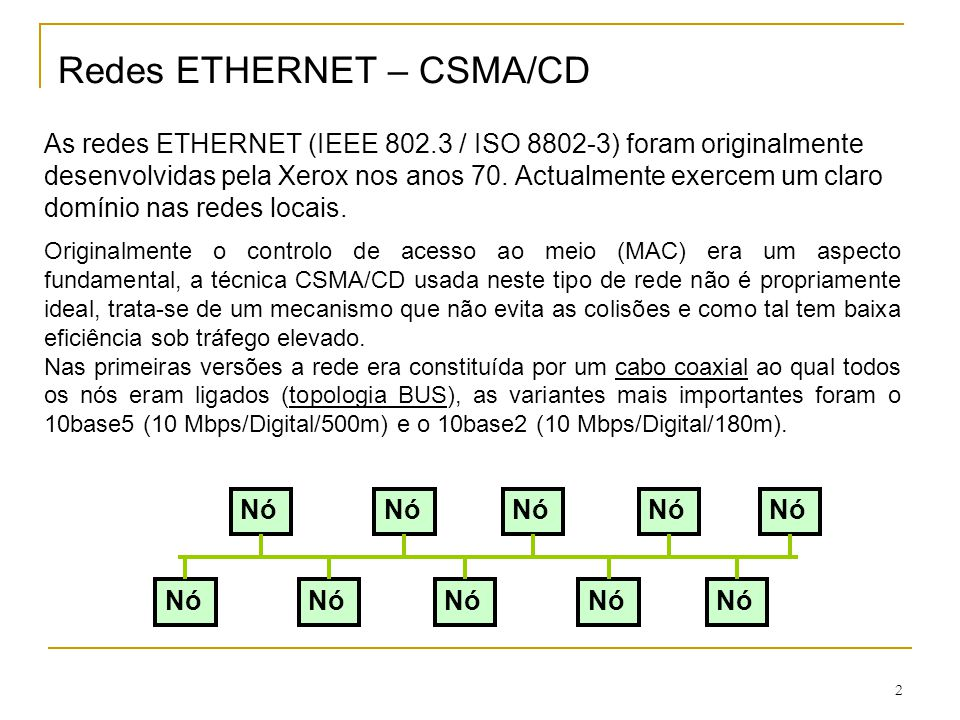 Redes ETHERNET – CSMA/CD As redes ETHERNET (IEEE 802
