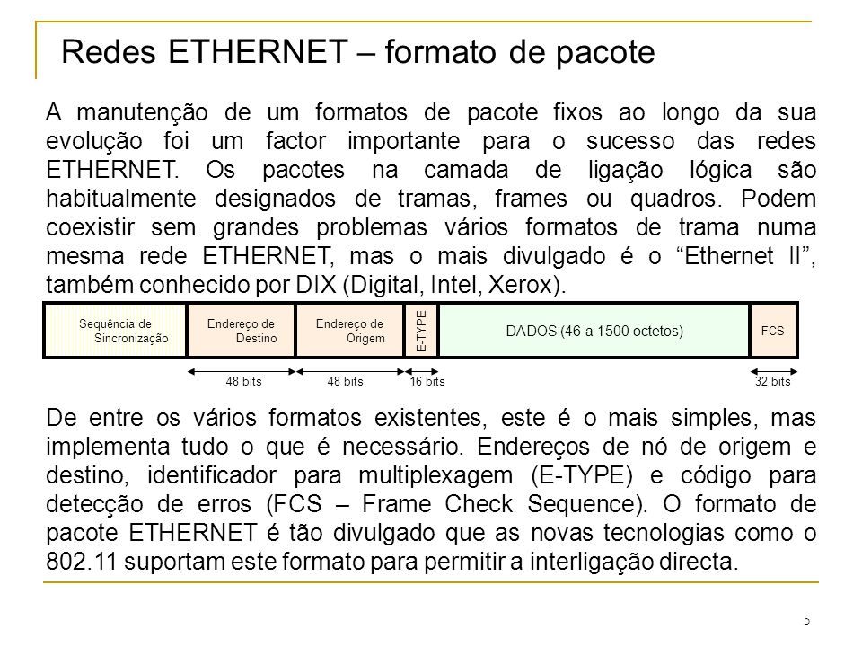 Redes ETHERNET – formato de pacote