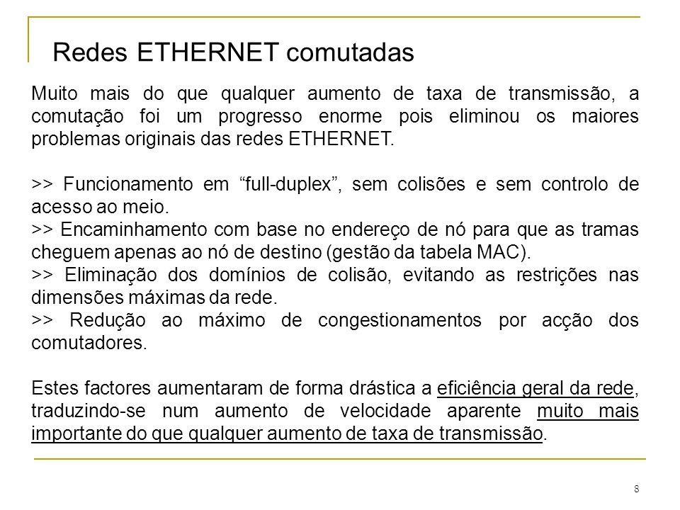 Redes ETHERNET comutadas