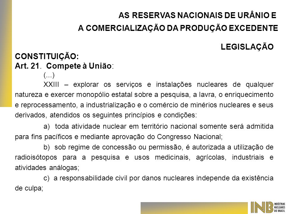 AS RESERVAS NACIONAIS DE URÂNIO E