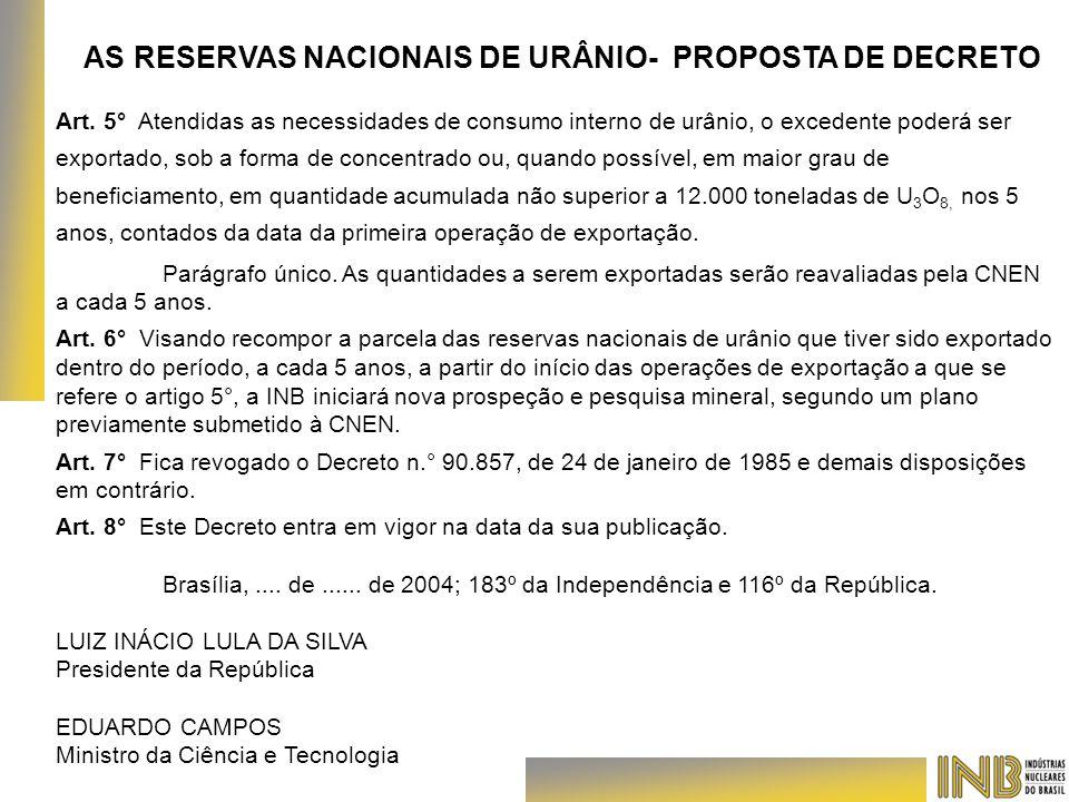 AS RESERVAS NACIONAIS DE URÂNIO- PROPOSTA DE DECRETO