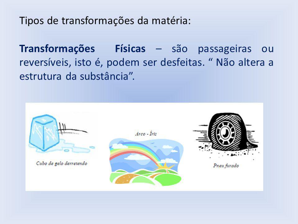 Tipos de transformações da matéria: