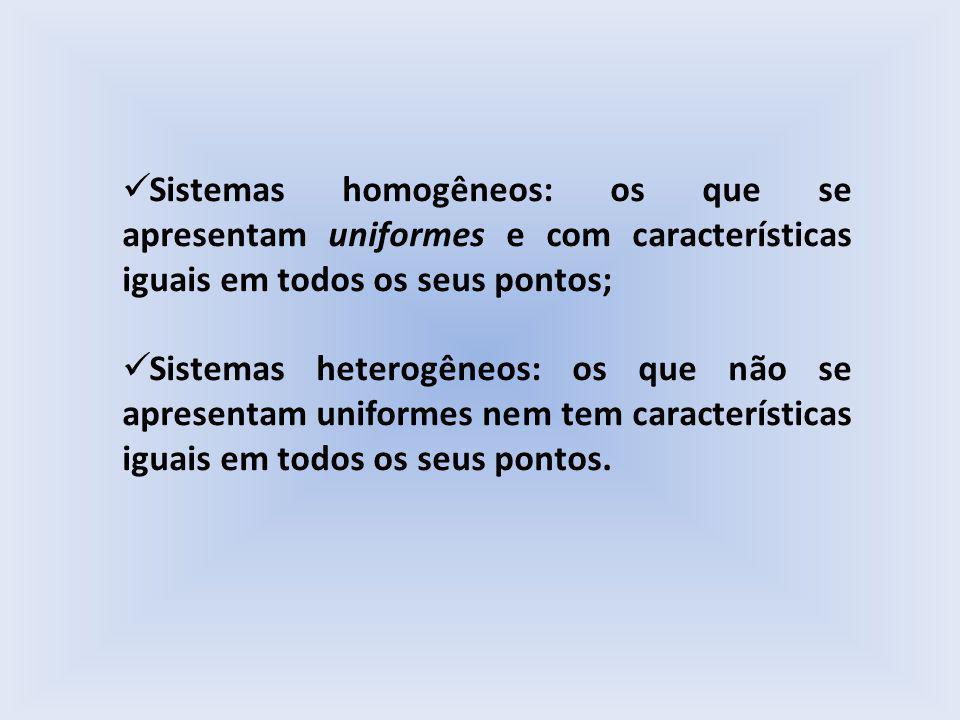 Sistemas homogêneos: os que se apresentam uniformes e com características iguais em todos os seus pontos;