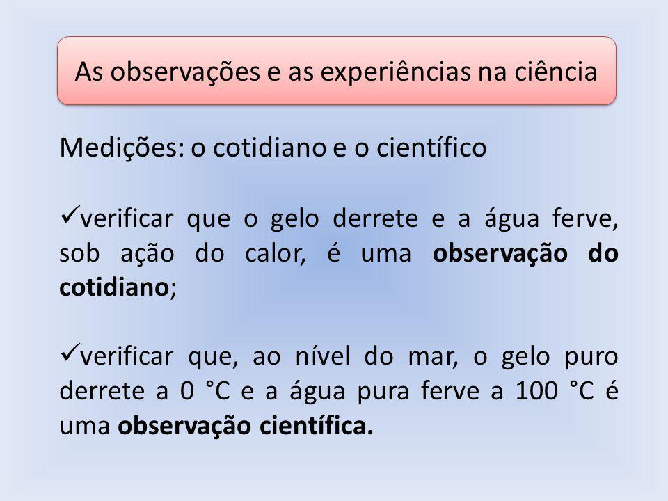 As observações e as experiências na ciência