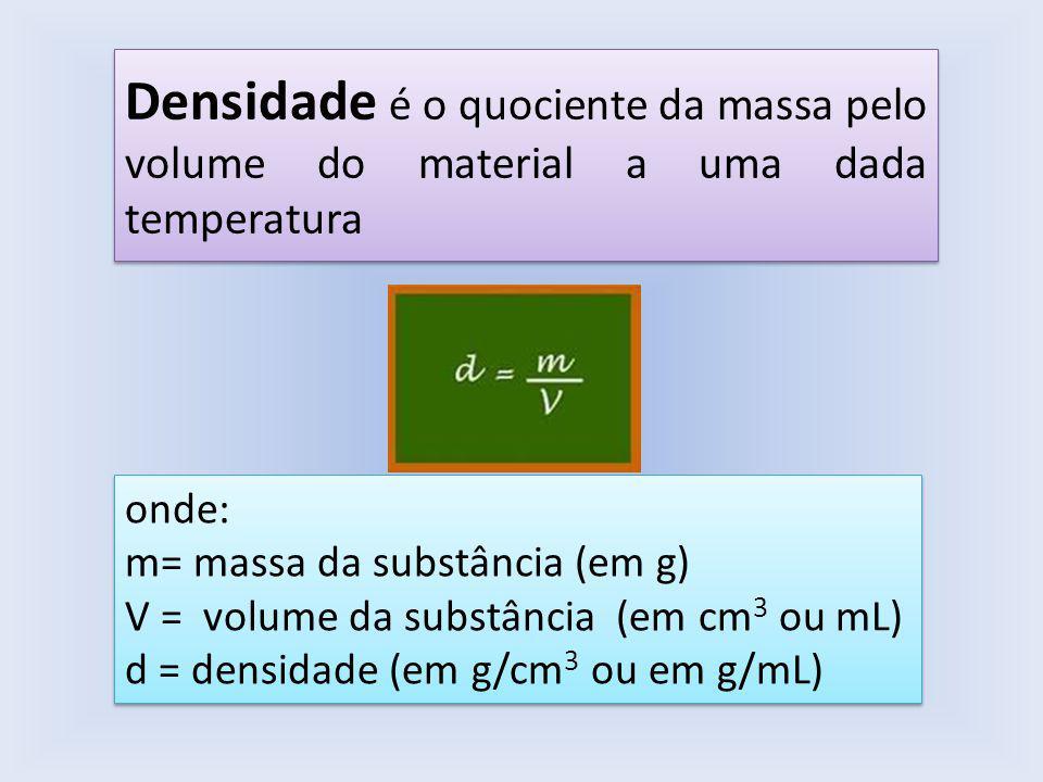 Densidade é o quociente da massa pelo volume do material a uma dada temperatura